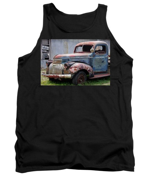 Tank Top featuring the photograph Cool Blue Chevy by Steven Bateson