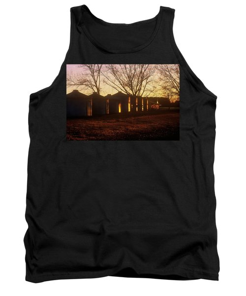 Tank Top featuring the photograph Corn Cribs At Sunset by Rodney Lee Williams