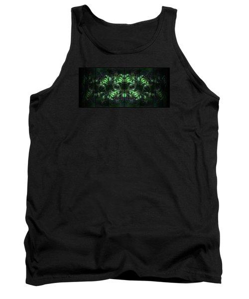 Cosmic Alien Eyes Green Tank Top by Shawn Dall