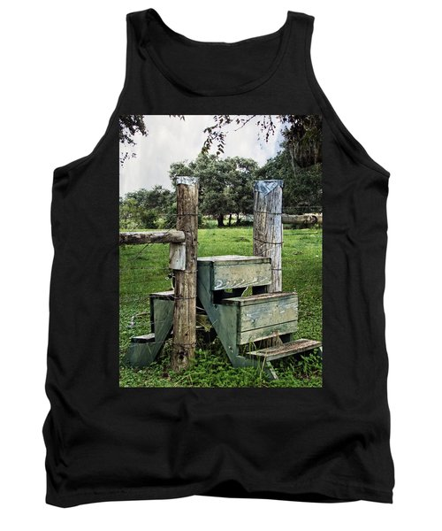 Tank Top featuring the photograph Country Farm Fence Stile Crossing by Ella Kaye Dickey
