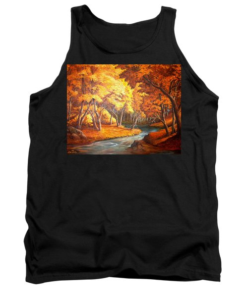 Tank Top featuring the painting Country Stream In The Fall by Loxi Sibley