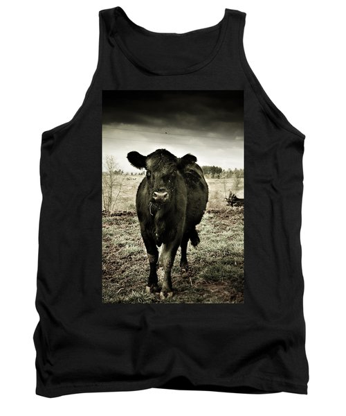Cow In The Winter Pasture  Tank Top by Gray  Artus