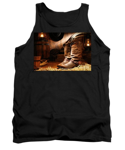 Cowboy Boots In A Ranch Barn Tank Top