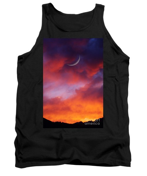 Tank Top featuring the photograph Crescent Moon In Purple by Joseph J Stevens