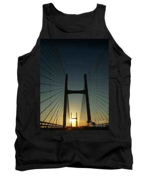 Tank Top featuring the photograph Crossing The Severn Bridge At Sunset - Cardiff - Wales by Vicki Spindler
