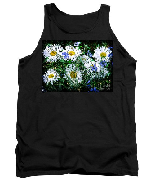 Daisies With Blue Flax And Bee Tank Top