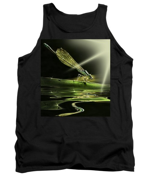 Damsel Dragon Fly  With Sparkling Reflection Tank Top
