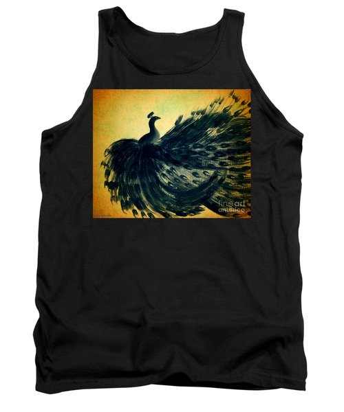 Tank Top featuring the painting Dancing Peacock Gold by Anita Lewis
