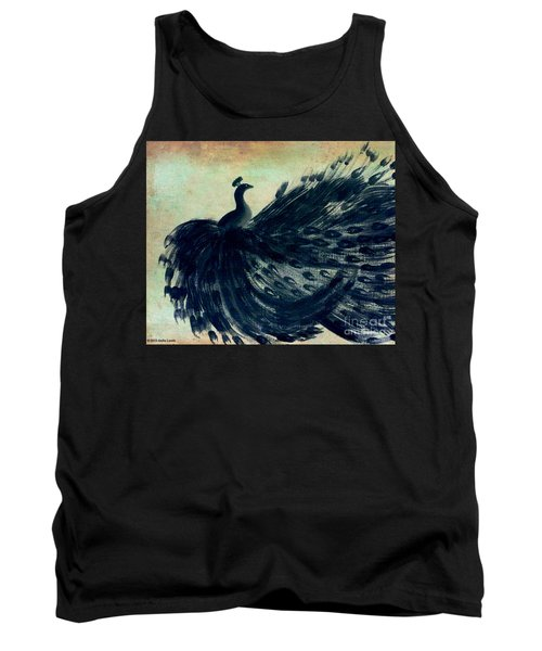 Tank Top featuring the painting Dancing Peacock Mint by Anita Lewis