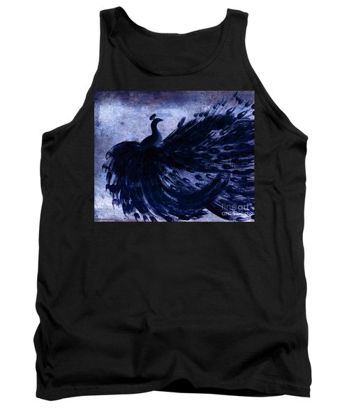 Tank Top featuring the painting Dancing Peacock Navy by Anita Lewis