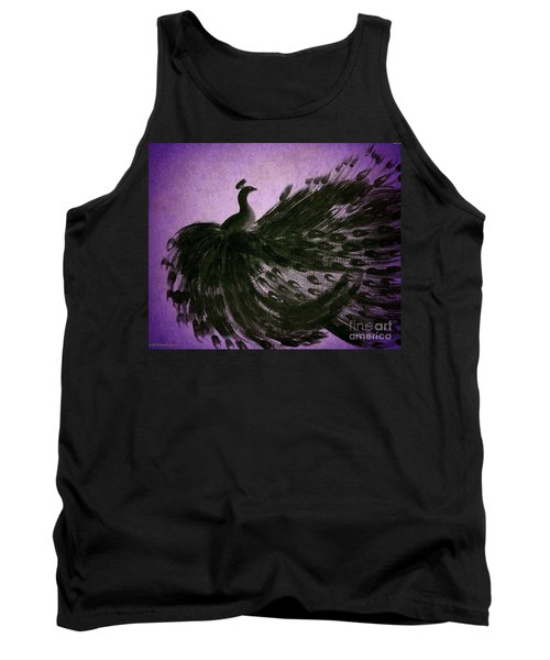 Tank Top featuring the digital art Dancing Peacock Vivid Purple by Anita Lewis