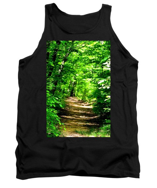 Dappled Sunlit Path In The Forest Tank Top