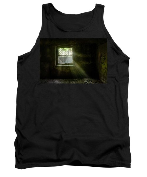 Tank Top featuring the photograph Darkness Revealed - Basement Room Of An Abandoned Asylum by Gary Heller