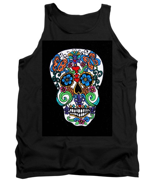 Day Of The Dead Skull Tank Top by Genevieve Esson