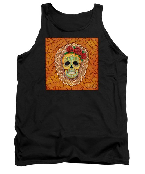 Day Of The Dead With Roses And Lace Tank Top by Joseph Sonday
