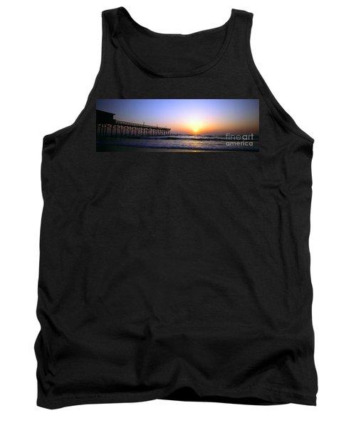 Tank Top featuring the photograph Daytona Sun Glow Pier  by Tom Jelen