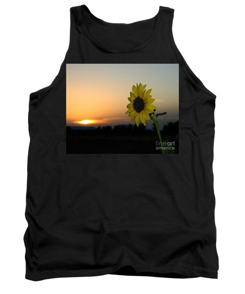 Tank Top featuring the photograph Sunflower And Sunset by Mae Wertz