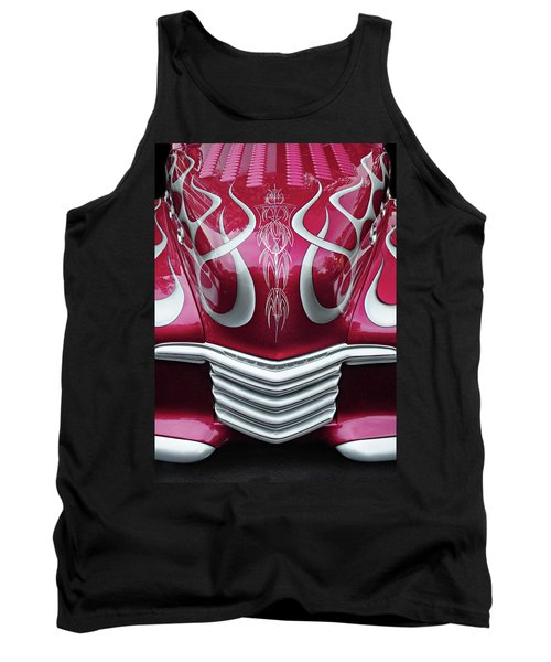 Tank Top featuring the photograph Decorative Chevrolet Hood by Dave Mills