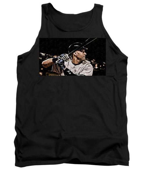 Derek Jeter On Canvas Tank Top by Florian Rodarte