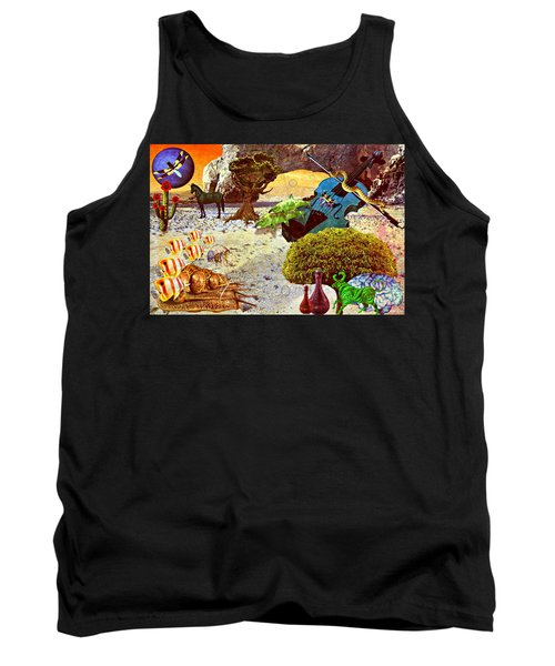 Tank Top featuring the mixed media Desert Blues by Ally  White