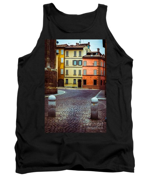 Deserted Street With Colored Houses In Parma Italy Tank Top