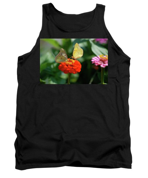 Tank Top featuring the photograph Dinner Table For Two Butterflies by Thomas Woolworth