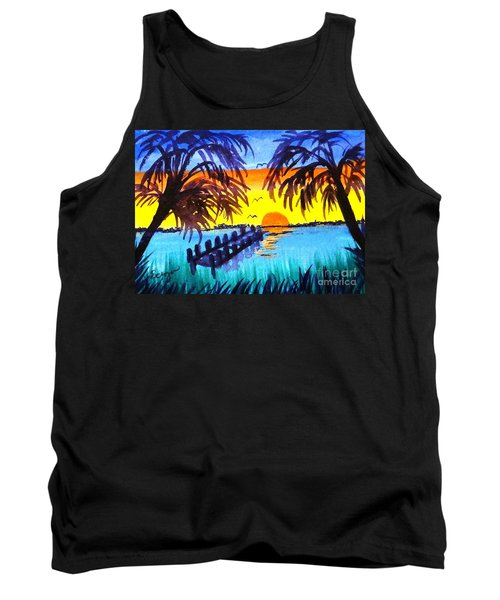 Dock At Sunset Tank Top