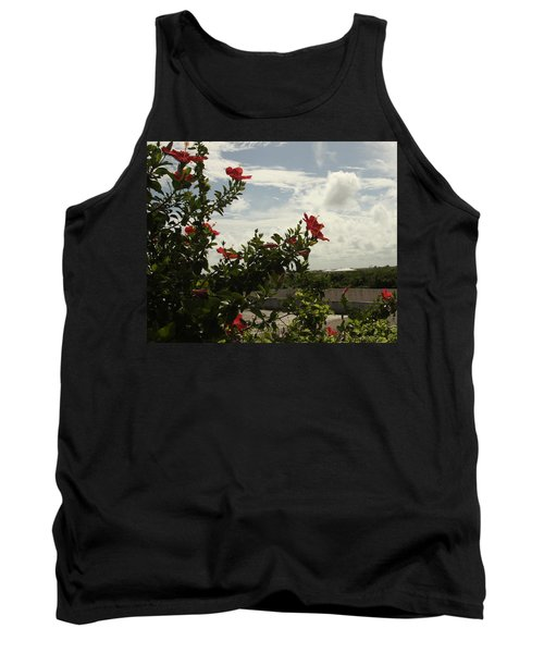 Dominican Red Flower Tank Top