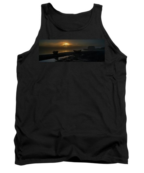 Tank Top featuring the photograph Dories Beached In Lifting Fog by Marty Saccone