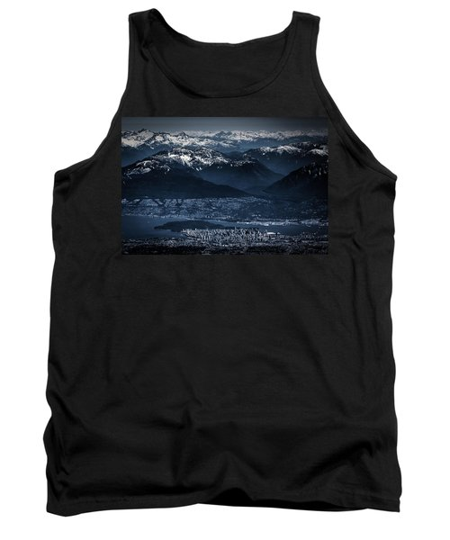 Downtown Vancouver And The Mountains Aerial View Low Key Tank Top