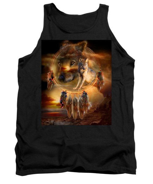 Tank Top featuring the mixed media Dream Catcher - Wolfland by Carol Cavalaris