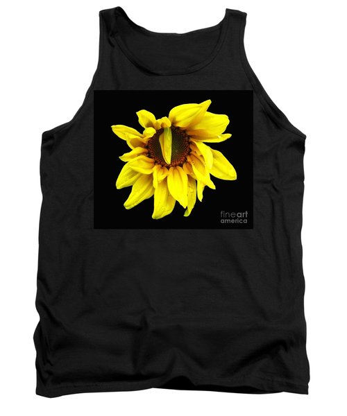 Tank Top featuring the photograph Droops Sunflower With Oil Painting Effect by Rose Santuci-Sofranko