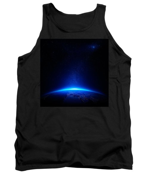 Earth At Night With City Lights Tank Top by Johan Swanepoel