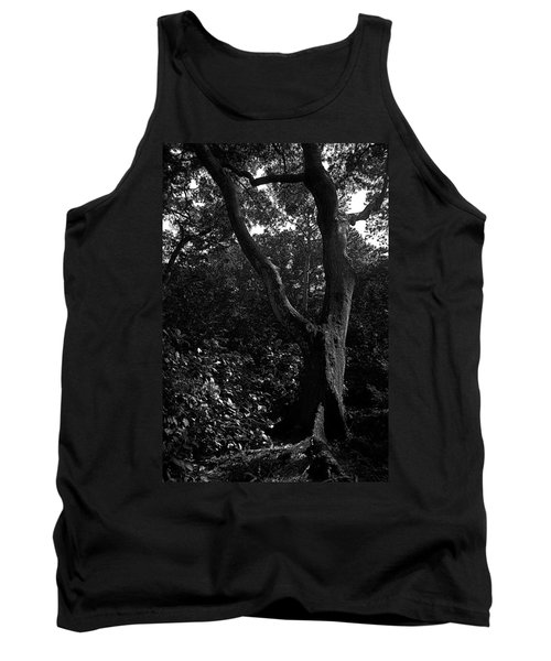 Tank Top featuring the photograph Elizabethan Gardens Tree In B And W by Greg Reed
