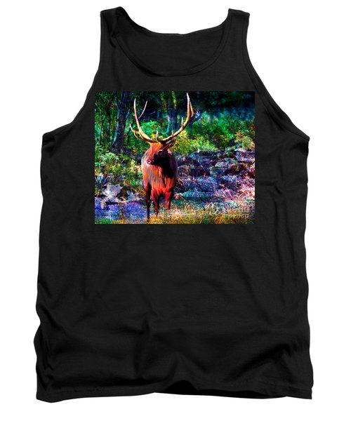 Tank Top featuring the painting Elk In The Wilderness by Annie Zeno