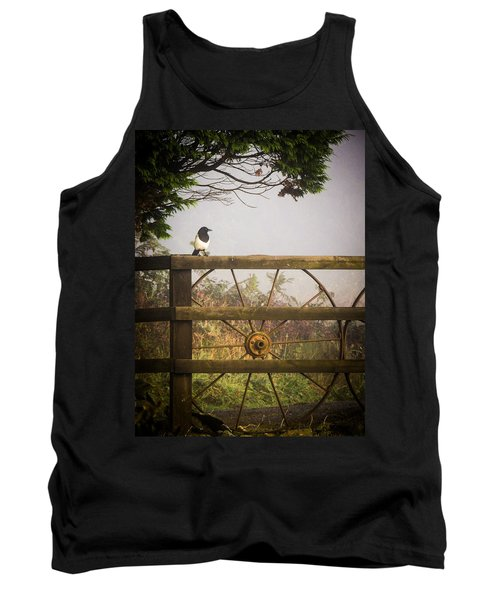 Eurasian Magpie In Morning Mist Tank Top