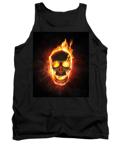 Evil Skull In Flames And Smoke Tank Top by Johan Swanepoel