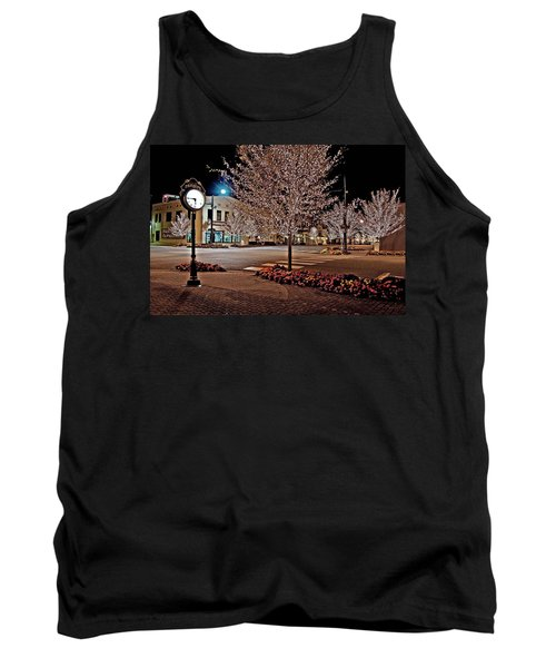 Fairhope Ave With Clock Night Image Tank Top