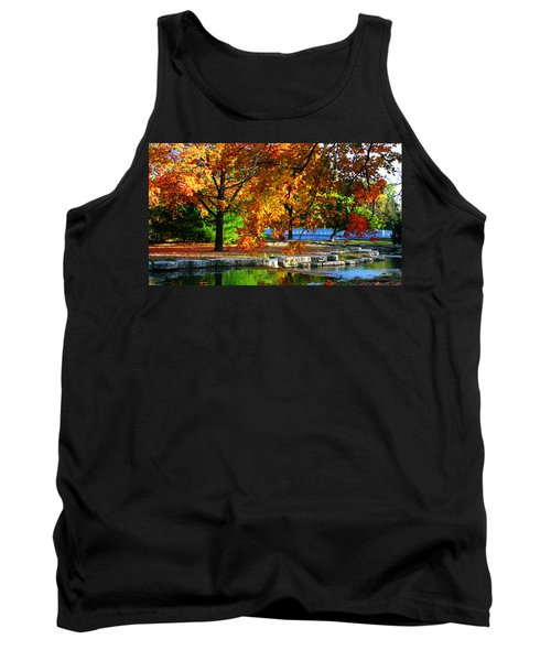 Fall Trees Landscape Stream Tank Top