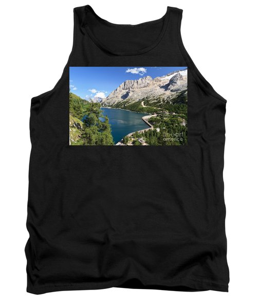 Tank Top featuring the photograph Fedaia Pass With Lake by Antonio Scarpi