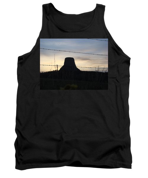 Tank Top featuring the photograph Fencing Devil's Tower by Cathy Anderson