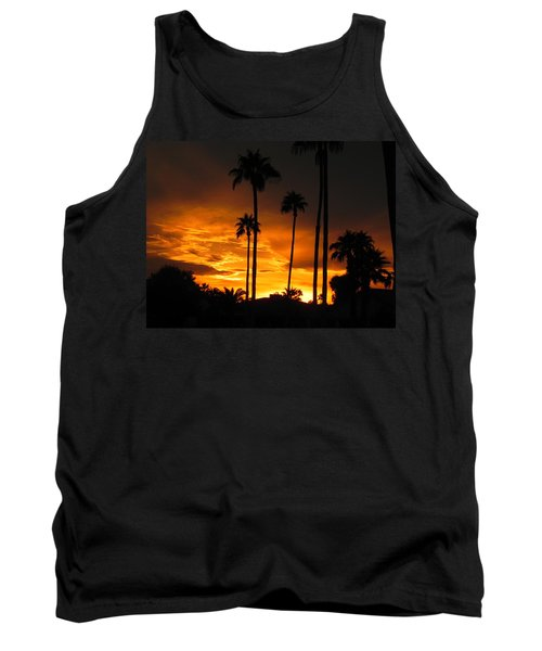 Tank Top featuring the photograph Fiery Sunset by Deb Halloran