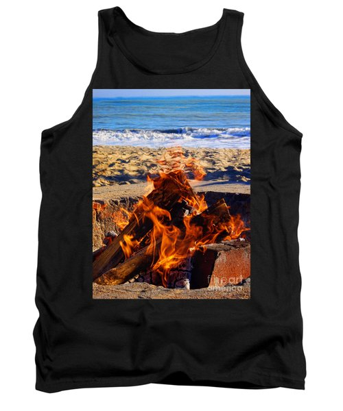 Tank Top featuring the photograph Fire At The Beach by Mariola Bitner