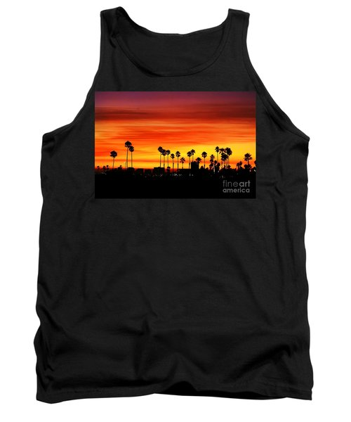 Tank Top featuring the photograph Fire Sunset In Long Beach by Mariola Bitner