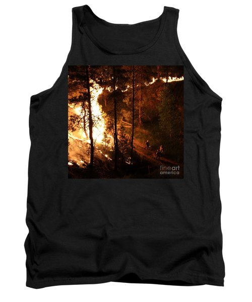 Tank Top featuring the photograph Firefighters Burn Out On The White Draw Fire by Bill Gabbert