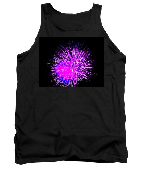 Tank Top featuring the photograph Fireworks In Purple by Michael Porchik