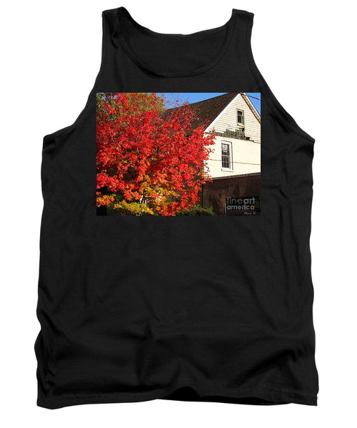 Tank Top featuring the photograph Flaming Fall Colours On Farm House by Nina Silver
