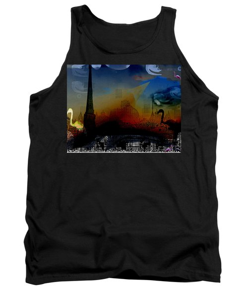 Tank Top featuring the digital art Flamingo Pink Gone by Cathy Anderson