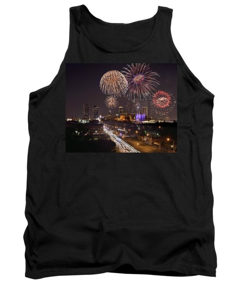 Tank Top featuring the photograph Fort Worth Skyline At Night Fireworks Color Evening Ft. Worth Texas by Jon Holiday