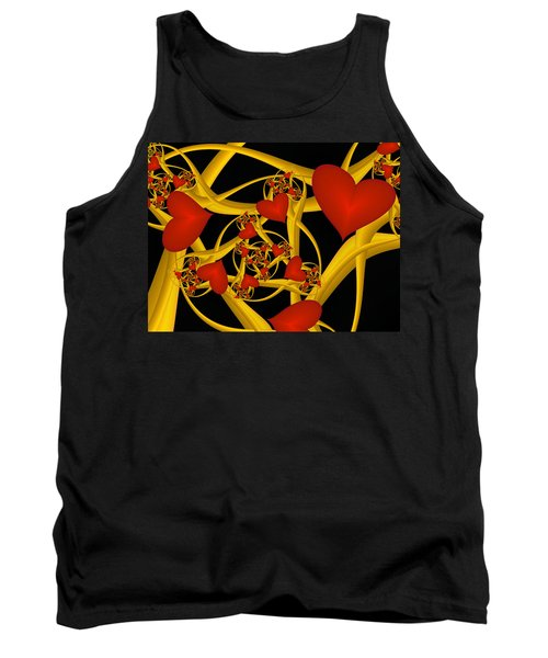 Fractal Love Ist Gold Tank Top by Gabiw Art